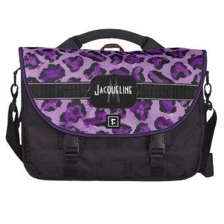 Monogrammed Name Jaguar Leopard Skin Print Pattern Computer Bag