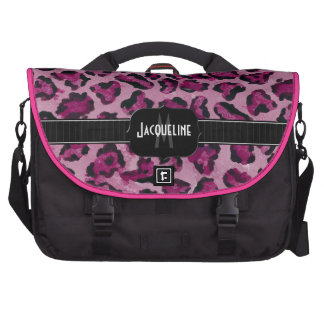 Monogrammed Name Jaguar Leopard Skin Print Pattern Bags For Laptop