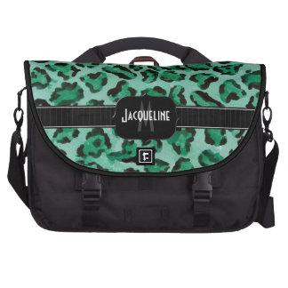 Monogrammed Name Jaguar Leopard Skin Print Pattern Commuter Bag