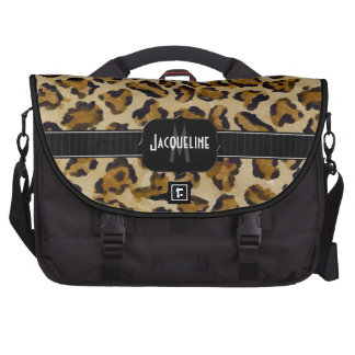 Monogrammed Name Jaguar Leopard Skin Print Pattern Laptop Bags