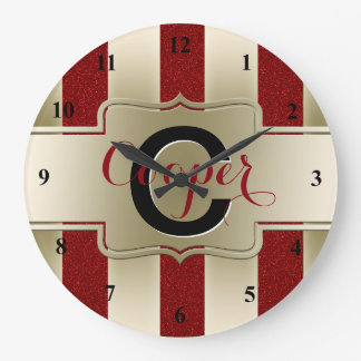 Monogrammed Name | Red Glitter Gold Stripes Large Clock