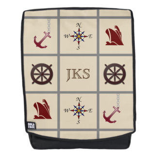 Monogrammed Nautical Symbols Backpack