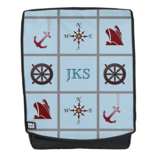 Monogrammed Nautical Symbols on Blue Backpack