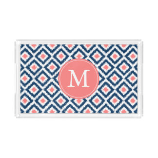 Monogrammed Navy and Coral Ikat Diamonds Pattern Rectangle Serving Trays