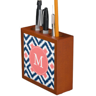 Monogrammed Navy and Coral Ikat Diamonds Pattern Pencil Holder