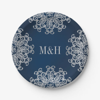Monogrammed Navy and Silver Indian Style Wedding Paper Plate
