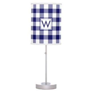 Monogrammed Navy and White Gingham Plaid Pattern Desk Lamp