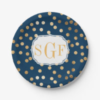 Monogrammed Navy Blue and Gold Glitter Dots Paper Plate