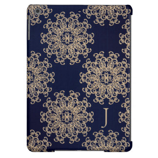 MONOGRAMMED NAVY BLUE AND GOLD INDIAN PRINT COVER FOR iPad AIR