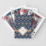 "Monogrammed Navy Blue and Gold Moroccan Bicycle Playing Cards<br><div class=""desc"">An elegant and trendy,  jewel toned Moroccan pattern with a printed ribbon look design in gold and a sapphire blue hue. It can be personalized with your monogram or initial on it. Artwork and design &#169; Chrissy H. Studios,  LLC. All Rights Reserved.</div>"