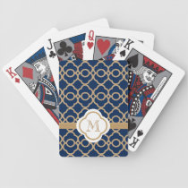 Monogrammed Navy Blue and Gold Moroccan Bicycle Playing Cards