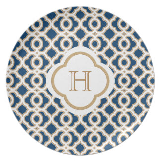 Monogrammed Navy Blue and Gold Moroccan Dinner Plate