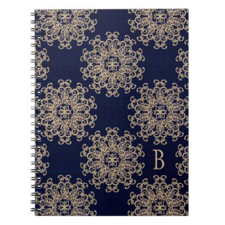 Monogrammed Navy Blue and Gold Notebook Journal