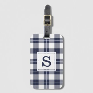Monogrammed Navy Blue and White Plaid Pattern Bag Tag