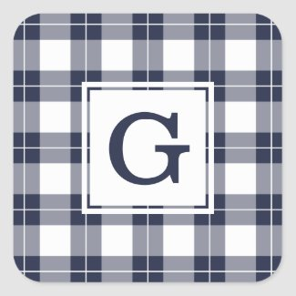 Monogrammed Navy Blue and White Plaid Pattern Square Sticker