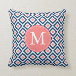 Monogrammed Navy Blue Coral Diamonds Ikat Pattern Pillows