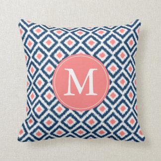 Monogrammed Navy Blue Coral Diamonds Ikat Pattern Pillows