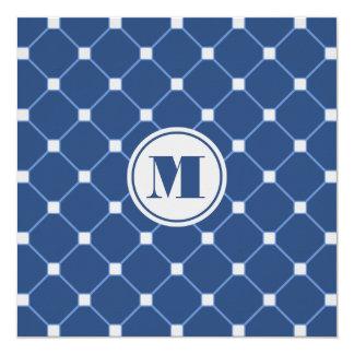 Monogrammed Navy Blue Diamond Invitation