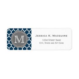 Monogrammed Navy Blue & Grey Label