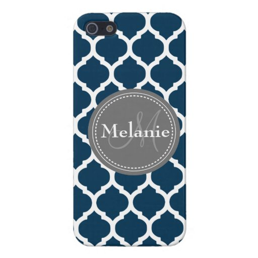 Monogrammed Navy Blue & Grey Quatrefoil Covers For iPhone 5