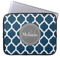 Monogrammed Navy Blue & Grey Quatrefoil Laptop Sleeve
