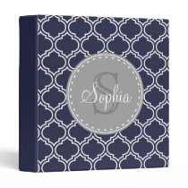 Monogrammed Navy Blue Lattice Pattern Binder