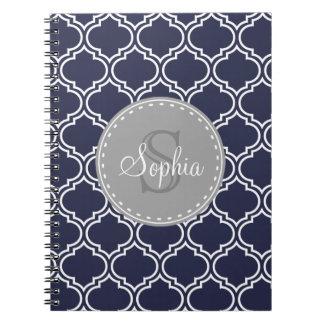 Monogrammed Navy Blue Lattice Pattern Notebook