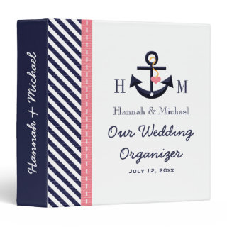 Monogrammed Navy Blue Pink Anchor Wedding Planner Vinyl Binder