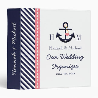 Monogrammed Navy Blue Pink Anchor Wedding Planner Binder