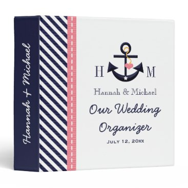 Beach Themed Monogrammed Navy Blue Pink Anchor Wedding Planner Binder