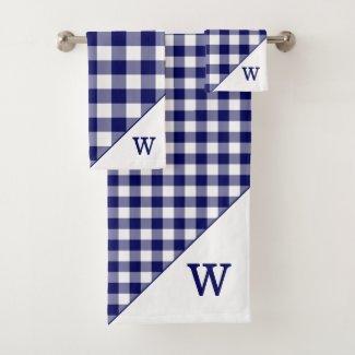 Monogrammed Navy Blue White Buffalo Plaid Pattern Bath Towel Set