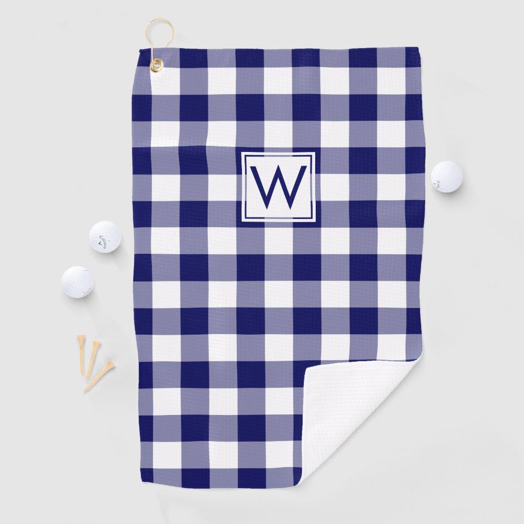 Monogrammed Navy Blue White Buffalo Plaid Pattern Golf Towel