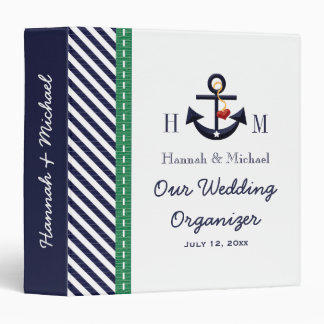 Monogrammed Navy Green Anchor Wedding Organizer 3 Ring Binder