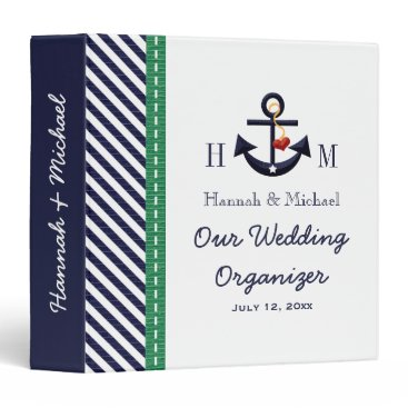 Beach Themed Monogrammed Navy Green Anchor Wedding Organizer 3 Ring Binder