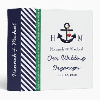 Monogrammed Navy Green Anchor Wedding Organizer Vinyl Binder