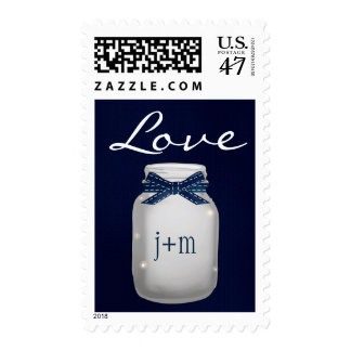Monogrammed Navy Mason Jar with Fireflies Love Postage