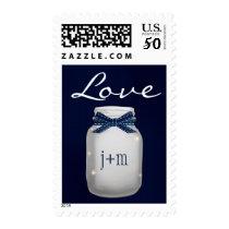 Monogrammed Navy Mason Jar with Fireflies Love Postage