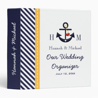 Monogrammed Navy Yellow Anchor Wedding Planner 3 Ring Binder