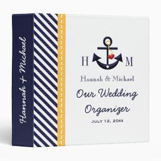 Monogrammed Navy Yellow Anchor Wedding Planner 3 Ring Binder