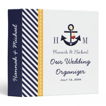 Beach Themed Monogrammed Navy Yellow Anchor Wedding Planner 3 Ring Binder