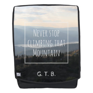 Monogrammed Never Stop Climbing That Mountain Backpack