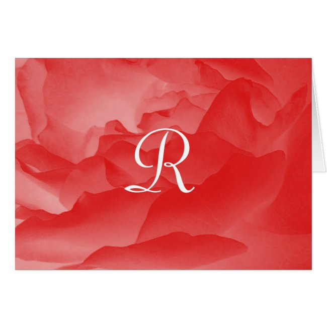 Monogrammed Note Card Coral Pink Rose