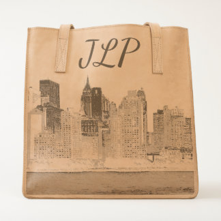 MONOGRAMMED NYC LEATHER TOTE BACK