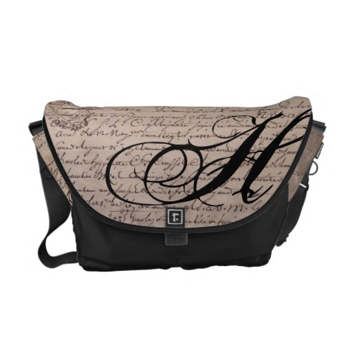 Monogrammed Old French Document Vintage Writings Commuter Bags