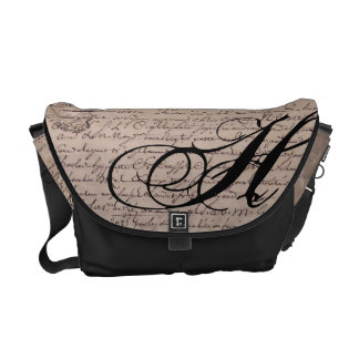 Monogrammed Old French Document Vintage Writings Messenger Bags