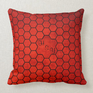Monogrammed Old Red Velvet Effect, Hexagon Patches Throw Pillow