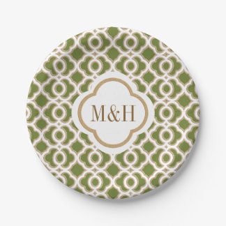Monogrammed Olive Green and Gold Moroccan Wedding Paper Plate