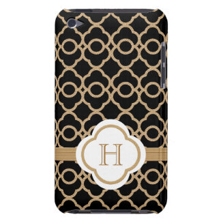 Monogrammed Onyx and Gold Moroccan iPod Case-Mate Cases