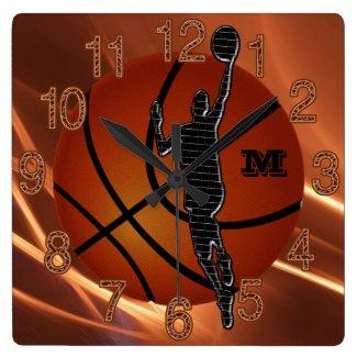 Monogrammed or Number Cool Boys Basketball Clocks