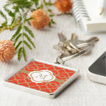 Monogrammed Orange and Gold Moroccan Silver-Colored Square Keychain